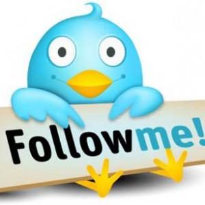Dibujo pájaro twitter con cartel follow me