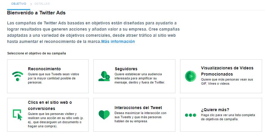 Diferentes objetivos twitter ads