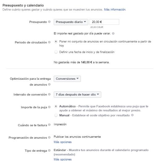 Presupuesto y calendario Facebook Ads