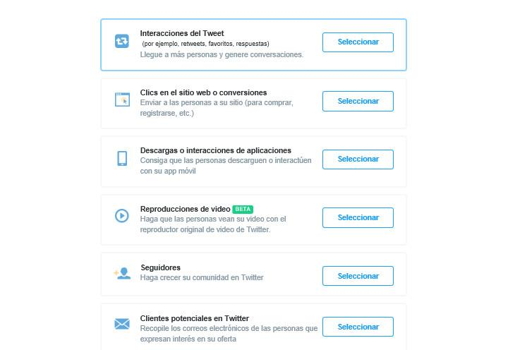 Tipos campañas Twitter Ads
