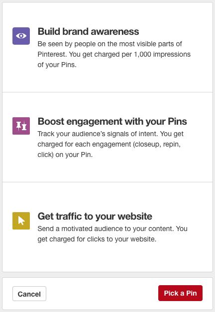 Objetivos_campaña Pinterest
