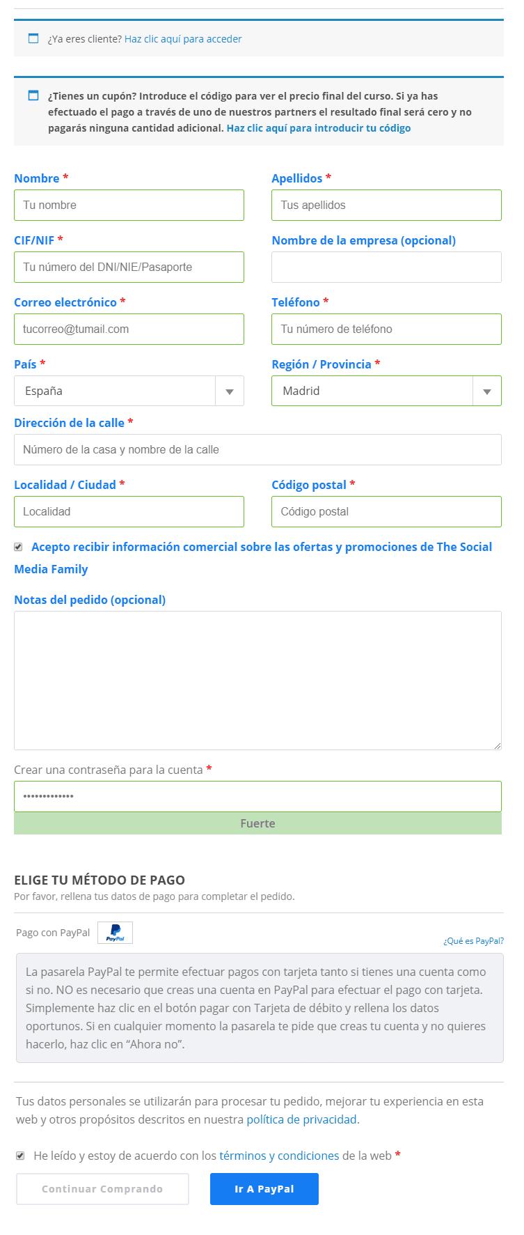 Cómo pagar con tarjeta en PayPal sin tener cuenta - usuario no registrado